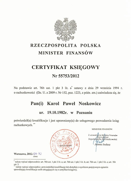 Certyfikat księgowy